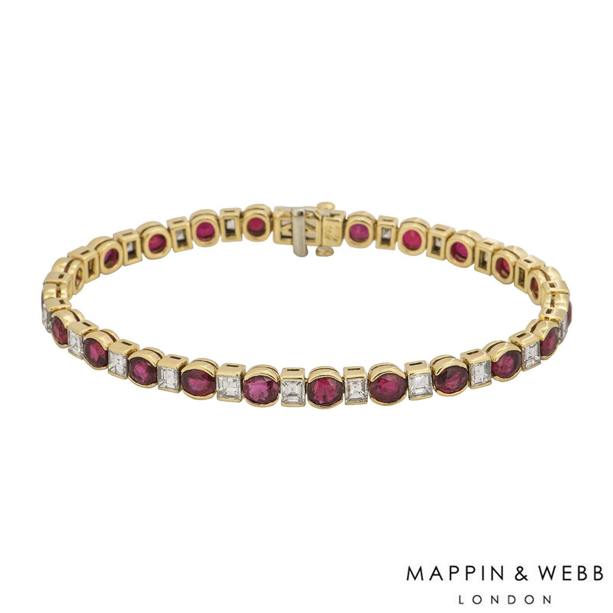 Mappin & Webb Yellow Gold Diamond And Ruby Line Bracelet